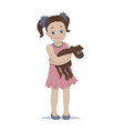 a cute girl embracing her pet vector image