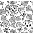 black and white seamless with roses vector image