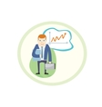 Business man standing pointing at chart vector image