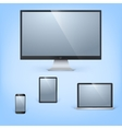 Realistic laptop tablet computer monitor and vector image