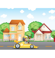 A boy in his racing car across the neighborhood vector image vector image