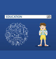 a little boy with education search engine bar vector image vector image