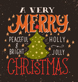A very Merry Christmas Greeting card vector image vector image