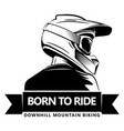 back shot man with full face motocross helmet vector image