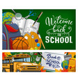 back to school note in book bus and stationery vector image