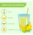 Banana and pear smoothie recipe with ingredients vector image vector image
