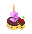 Birthday 3 years Cake and Candle isometrics Number vector image vector image