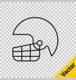 black line american football helmet icon isolated vector image vector image