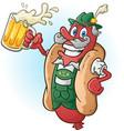 bratwurst hot dog beer cartoon vector image vector image