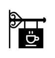cafe sign coffee related solid style vector image vector image