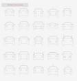 car set style line icons on white vector image vector image