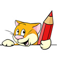 cartoon cat peeking out holding red pencil vector image vector image