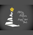 christmas tree made from white paper stripe vector image vector image