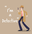 detective character with magnify glass on brown vector image vector image