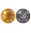 ethereum gold and silver coins vector image