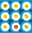 flat icon emoji set of hush grin tears and other vector image vector image
