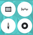 flat parts set of wheel spare parts heater and vector image vector image