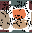 floral branches and abstract bushes pattern print vector image