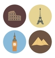 four flat landmark icons vector image