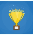 Golden winners trophy full of Dollars vector image