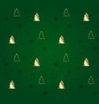 Green seamless pattern with golden christmas trees