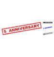 grunge 5 anniversary scratched rectangle vector image vector image