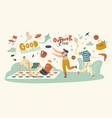 happy people enjoying summer outdoor activities vector image vector image