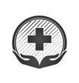 health care center logo flat design isolated two vector image vector image