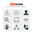 human icons set with project administrator vector image vector image