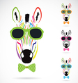 image of a zebra wear glasses vector image vector image