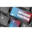 Keyboard key with enter button personal coaching vector image vector image
