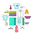 laundry icons set cartoon style vector image