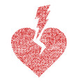 love heart crash fabric textured icon vector image vector image