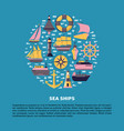 marine round concept with ship icons in flat style vector image vector image