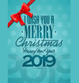 merry christmas with red bow ribbon vector image vector image