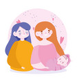 mom young daughter and balove together family vector image