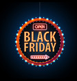 neon sign black friday open vintage electric vector image vector image