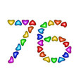 number 76 seventy six of colorful hearts on white vector image vector image