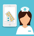 nurse medical smartphone online healthy vector image