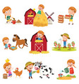 of little girl at farm vector image