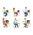 office workers at computers and laptops business vector image vector image