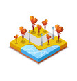 park zone with trimmed trees isometric 3d icon vector image vector image