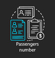 passenger number chalk icon reservation system vector image vector image