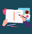 person fill notebook to-do list tasks for day vector image