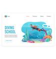 professional scuba diver man underwater diveng vector image