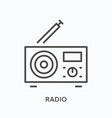 radio with antenna flat line icon outline vector image