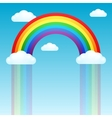 rainbow rain and clouds in sky vector image vector image