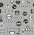 road barriers and signs pattern vector image vector image