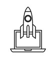 rocket launcher with laptop vector image vector image