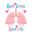 save lungs save life cartoon character human vector image vector image